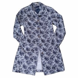 NWT Lands End M Navy Floral Trench Raincoat Jacket
